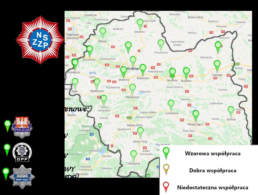 Mapa jakości współpracy strony związkowej ze stroną służbową (Mapa w budowie)